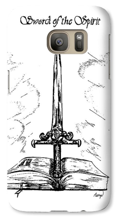 Sword Galaxy S7 Case featuring the drawing Sword Of The Spirit by Maryn Crawford
