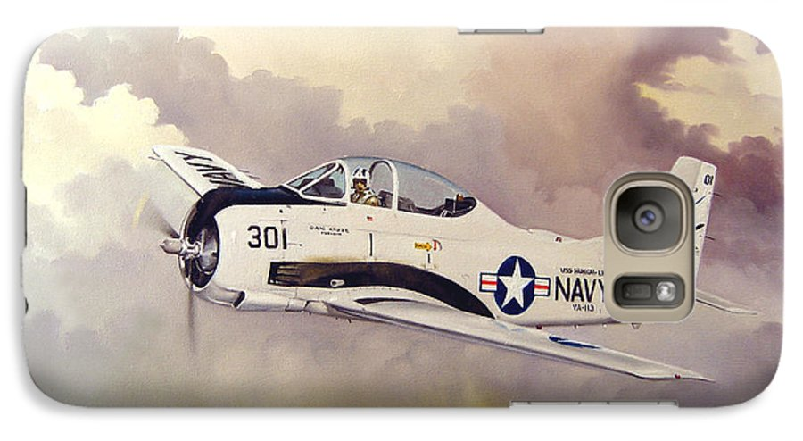Military Galaxy S7 Case featuring the painting T-28 Over Iowa by Marc Stewart