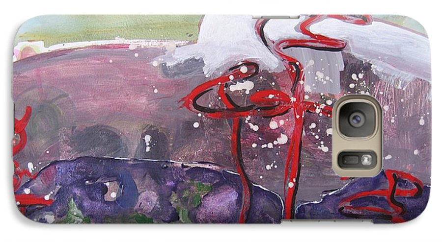Abstract Paintings Galaxy S7 Case featuring the painting Table Land3 by Seon-Jeong Kim