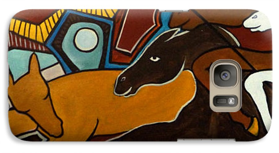 Horse Abstract Galaxy S7 Case featuring the painting Taffy Horses by Valerie Vescovi
