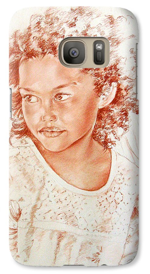 Drawing Persons Galaxy S7 Case featuring the painting Tahitian Girl by Miki De Goodaboom