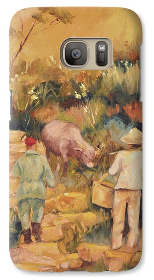Water Buffalo Galaxy S7 Case featuring the painting Taipei Buffalo Herder by Ginger Concepcion