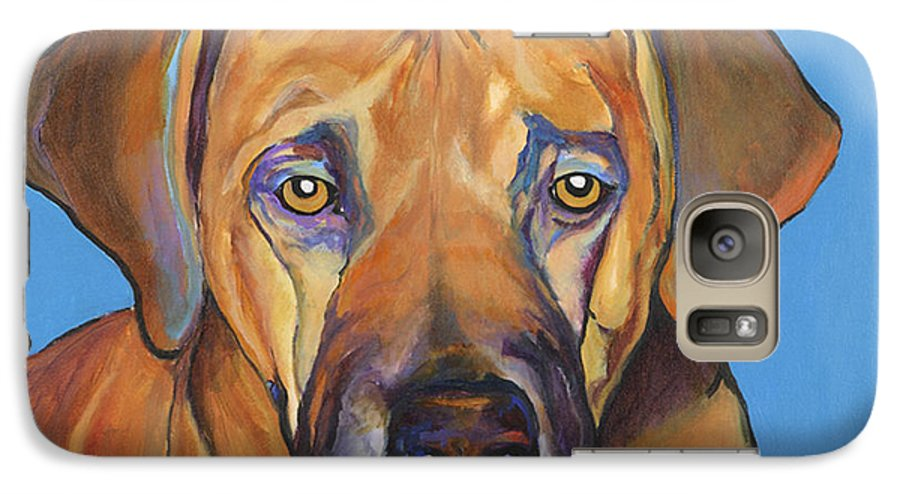 Rhodesian Ridgeback Dog Ridgeback African Colorful Orange Gold Yellow Red Galaxy S7 Case featuring the painting Talen by Pat Saunders-White