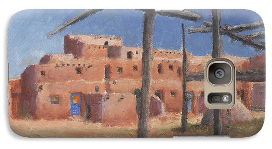 Taos Galaxy S7 Case featuring the painting Taos Pueblo by Jerry McElroy