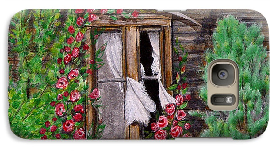 Curtains Galaxy S7 Case featuring the painting Tattered Curtains by Quwatha Valentine