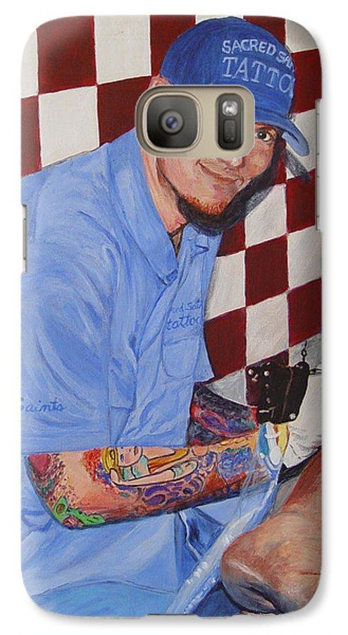 Tattoo Galaxy S7 Case featuring the painting Tattoo Artist - Brandon Notch by Quwatha Valentine