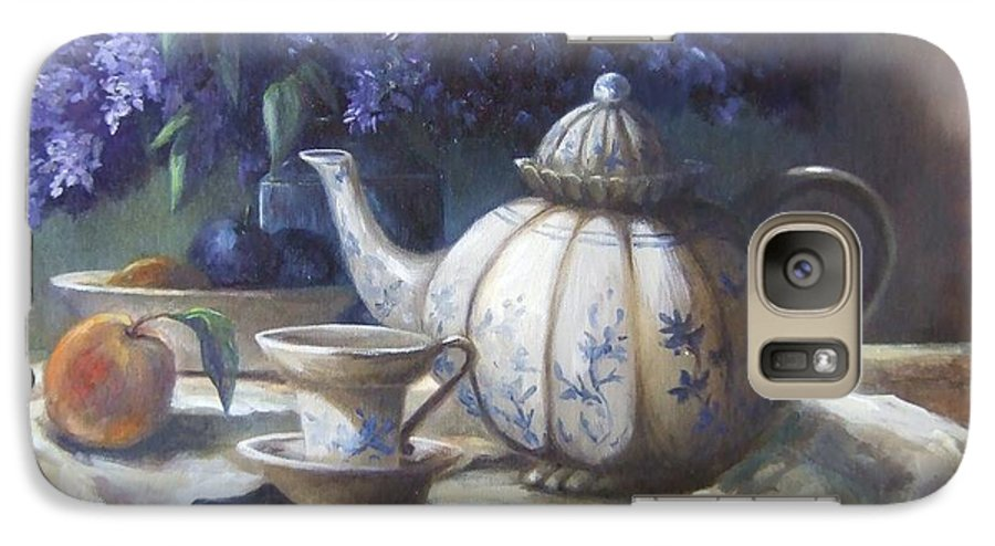 Teapot Galaxy S7 Case featuring the painting Tea And Lilacs by Ruth Stromswold