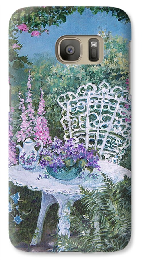 Garden;flowers;teapot;ornamental;roses; Galaxy S7 Case featuring the painting Tea Time In The Garden by Lois Mountz
