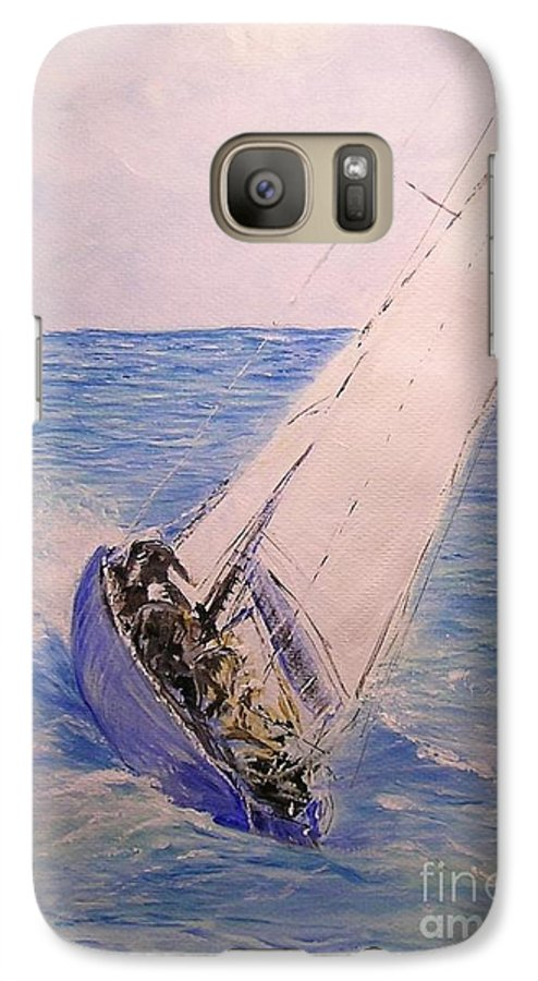 Seascape Galaxy S7 Case featuring the painting Tell Tails In The Wind by Lizzy Forrester