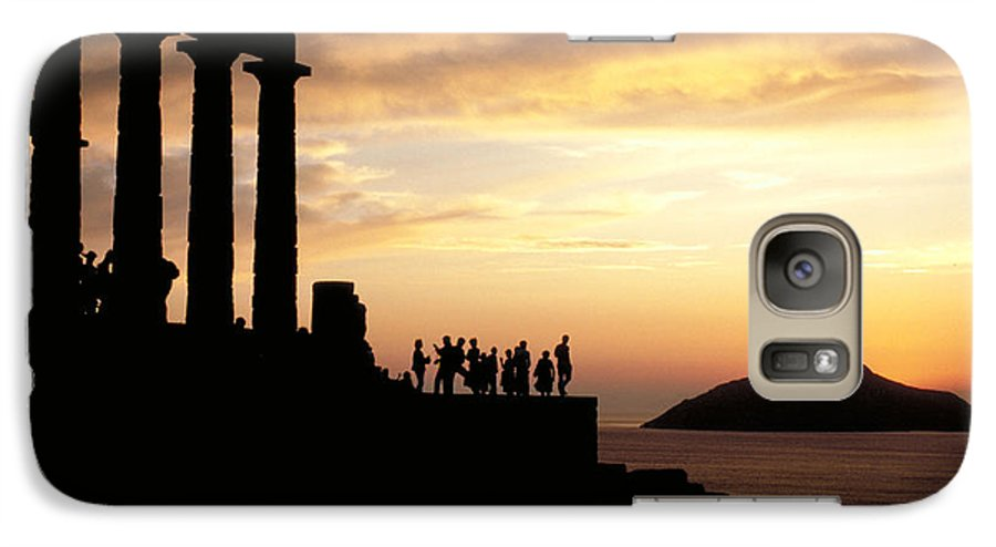 Tourists Galaxy S7 Case featuring the photograph Temple Of Poseiden In Greece by Carl Purcell