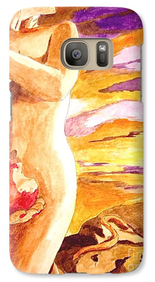 Watercolor Galaxy S7 Case featuring the painting Temptation by Herschel Fall