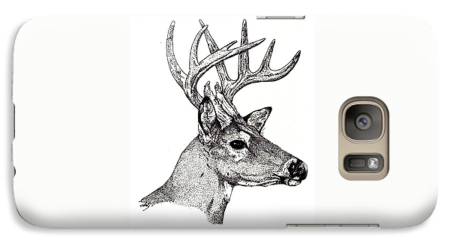 Deer Galaxy S7 Case featuring the drawing Ten Point Buck by Debra Sandstrom