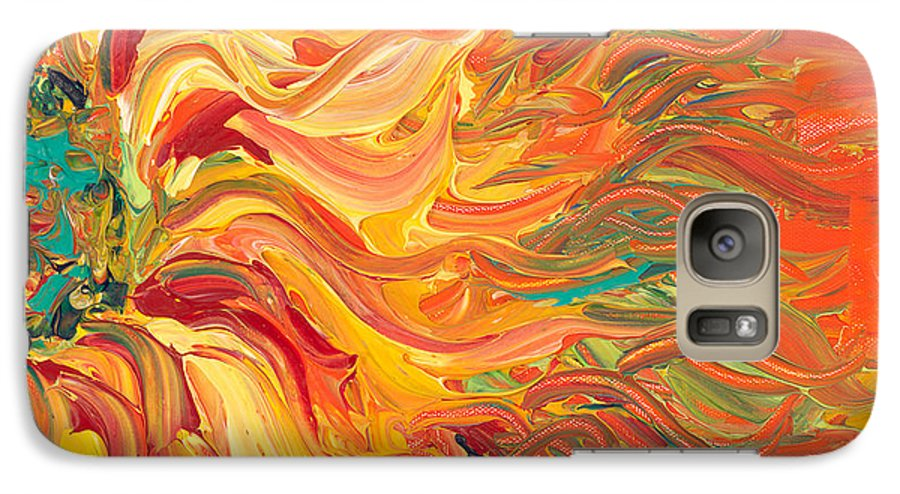 Sunjflower Galaxy S7 Case featuring the painting Textured Fire Sunflower by Nadine Rippelmeyer