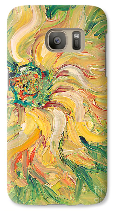 Texture Galaxy S7 Case featuring the painting Textured Green Sunflower by Nadine Rippelmeyer
