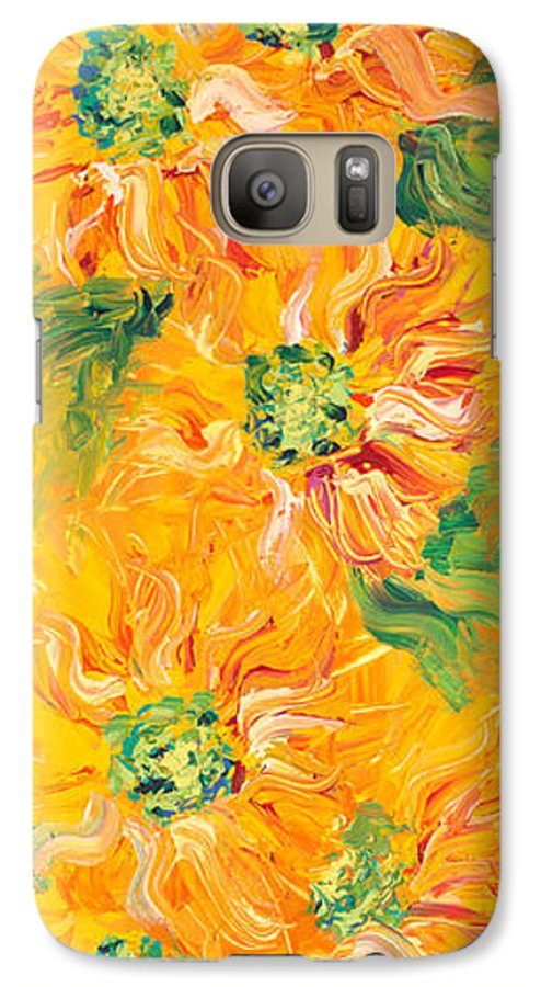 Yellow Galaxy S7 Case featuring the painting Textured Yellow Sunflowers by Nadine Rippelmeyer