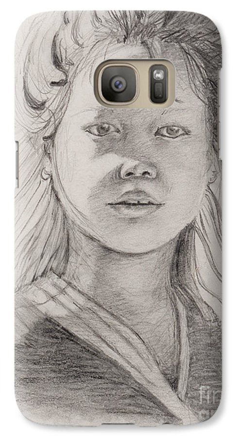 Portrait Galaxy S7 Case featuring the drawing Thai Beauty by Nadine Rippelmeyer