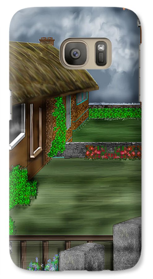 Cottages Galaxy S7 Case featuring the painting Thatched Roof Cottages In Ireland by Anne Norskog