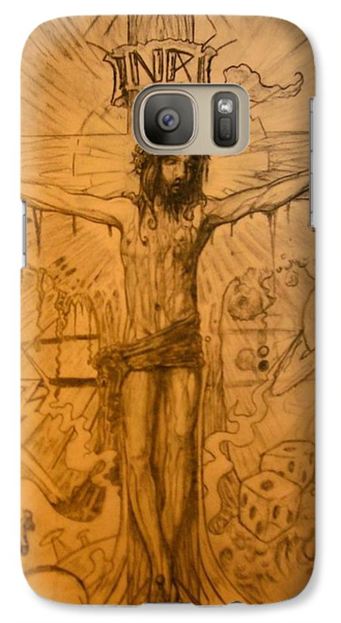 Jesus Galaxy S7 Case featuring the drawing The Ace Of Hearts by Will Le Beouf