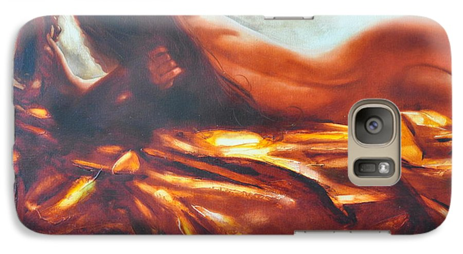 Painting Galaxy S7 Case featuring the painting The Amber Speck Of Light by Sergey Ignatenko