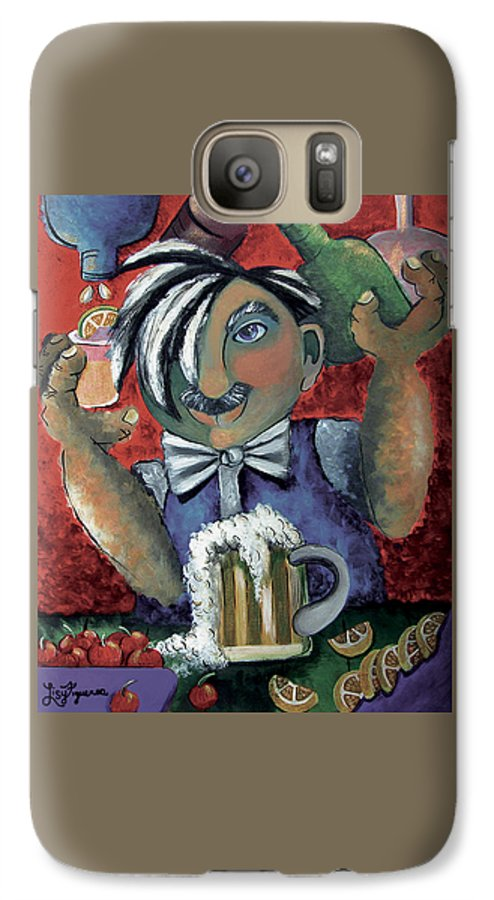 Bartender Galaxy S7 Case featuring the painting The Bartender by Elizabeth Lisy Figueroa