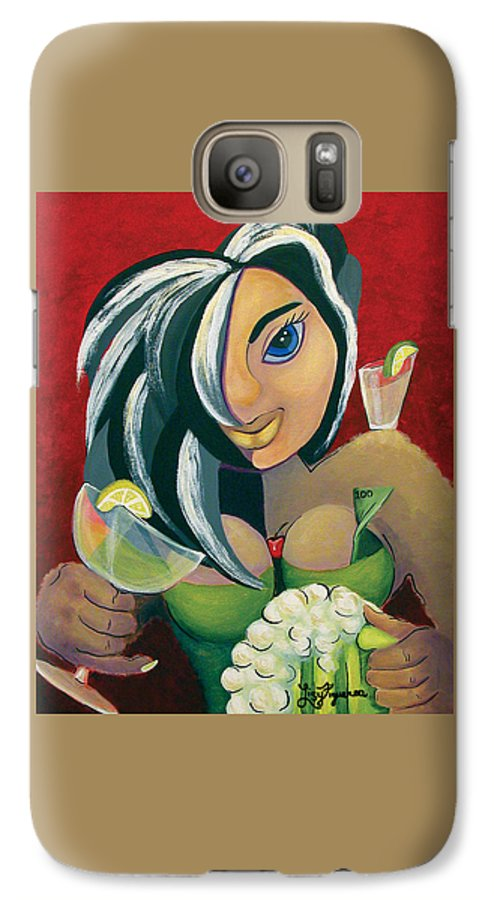 Bar Galaxy S7 Case featuring the painting The Barwaitress by Elizabeth Lisy Figueroa