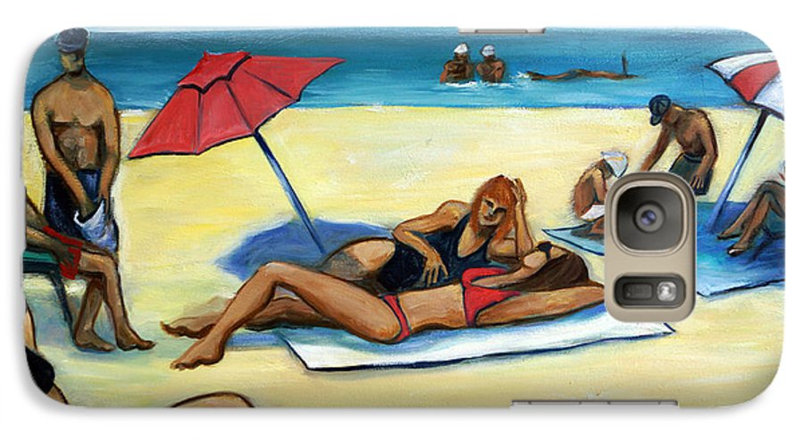 Beach Scene Galaxy S7 Case featuring the painting The Beach by Valerie Vescovi
