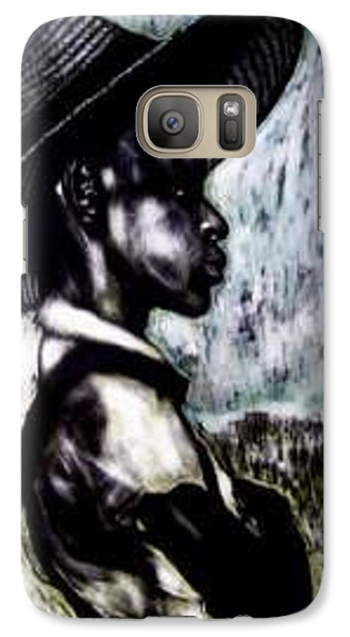 Portrait Galaxy S7 Case featuring the mixed media The Berry Picker by Chester Elmore