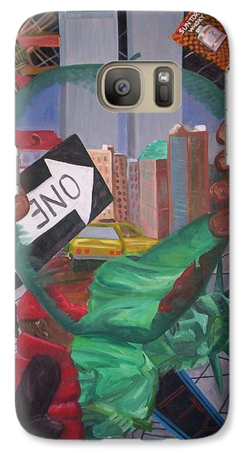New York Galaxy S7 Case featuring the painting The Big Apple by Lauren Luna