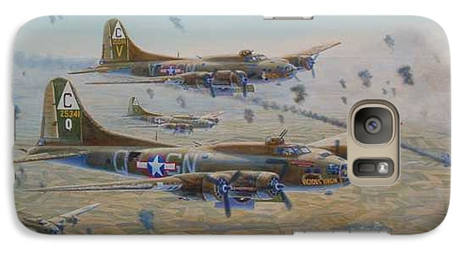 303rd Bomb Groups Vicious Virgin Galaxy S7 Case featuring the painting The Bomb Run Over Schwienfurt by Scott Robertson