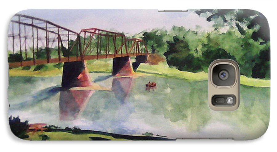 Bridge Galaxy S7 Case featuring the painting The Bridge At Ft. Benton by Andrew Gillette