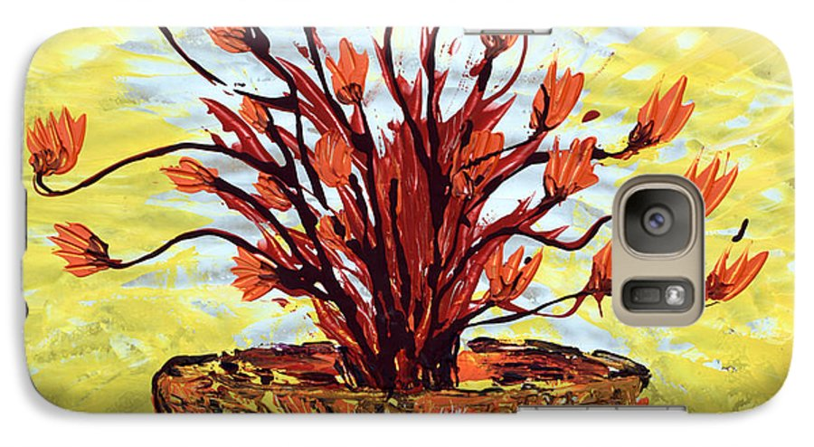 Red Bush Galaxy S7 Case featuring the painting The Burning Bush by J R Seymour