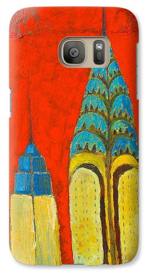 Galaxy S7 Case featuring the painting The Chrysler And The Empire State by Habib Ayat