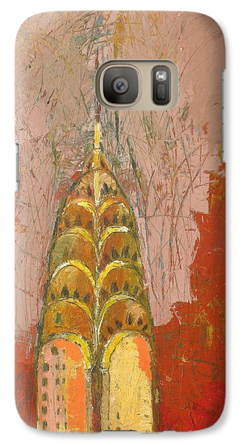 Abstract Cityscape Galaxy S7 Case featuring the painting The Chrysler In Motion by Habib Ayat