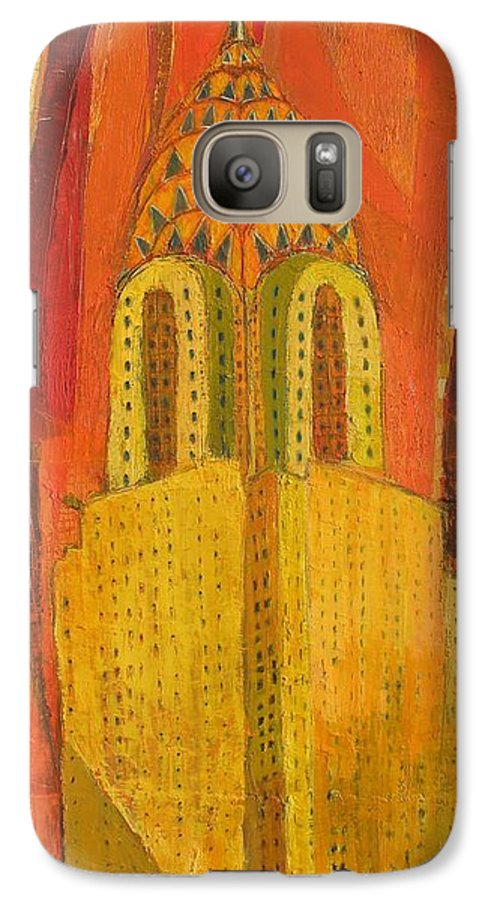 Abstract Cityscape Galaxy S7 Case featuring the painting The Chrysler In Red by Habib Ayat