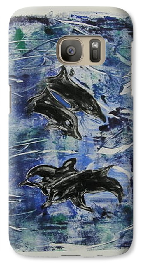 Monotype Galaxy S7 Case featuring the mixed media The Deep Sea by Cori Solomon