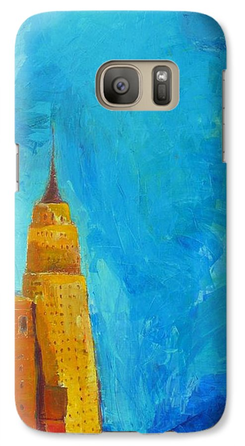 Abstract Cityscape Galaxy S7 Case featuring the painting The Empire State by Habib Ayat