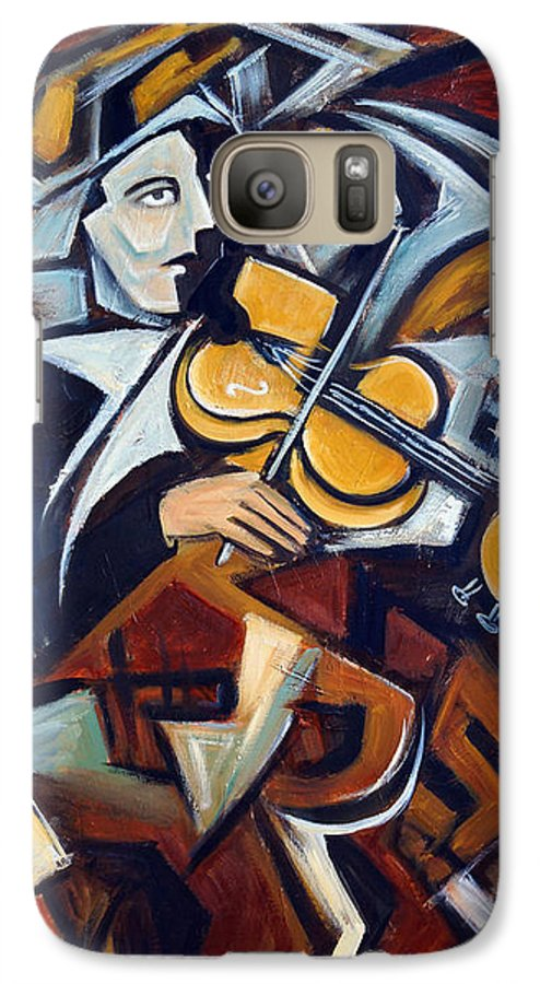 Musician Galaxy S7 Case featuring the painting The Fiddler by Valerie Vescovi