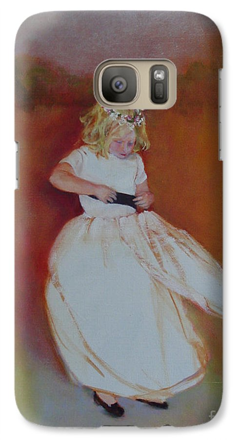 Contemporary Portrait Galaxy S7 Case featuring the painting The Flower Girl Copyrighted by Kathleen Hoekstra