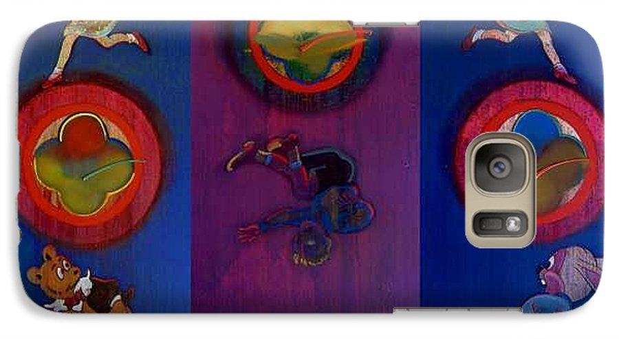 The Drums Of The Fruit Machine Stop At Random. Triptych Galaxy S7 Case featuring the painting The Fruit Machine Stops II by Charles Stuart