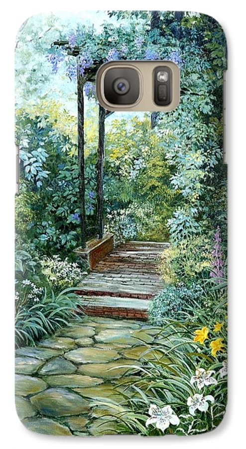 Oil Painting;wisteria;garden Path;lilies;garden;flowers;trellis;trees;stones;pergola;vines; Galaxy S7 Case featuring the painting The Garden Triptych Right Side by Lois Mountz