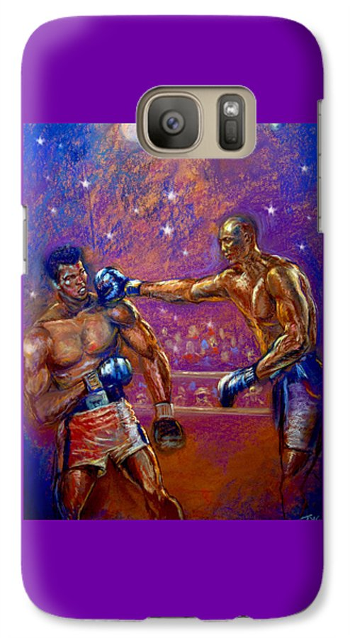 Boxing Galaxy S7 Case featuring the pastel the Greatest Muhammed Ali vs Jack Johnson by Tommy Winn