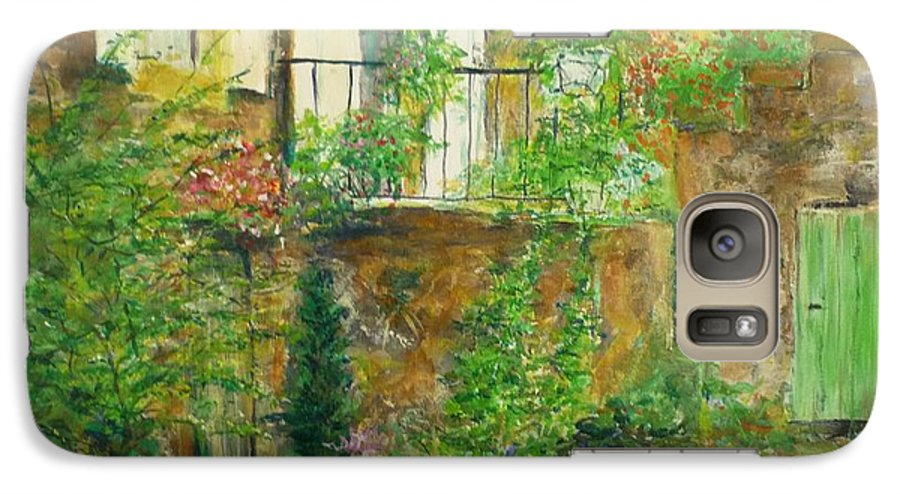 Stone Galaxy S7 Case featuring the painting The Green Door by Lizzy Forrester