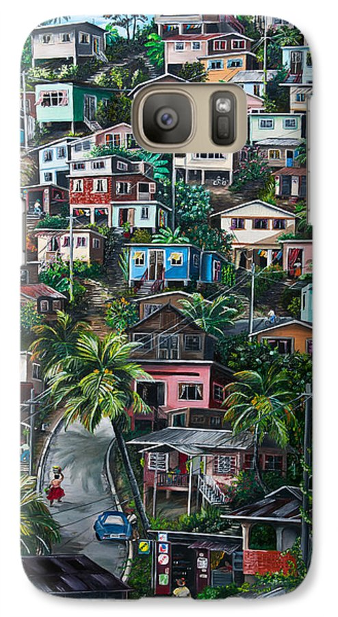 Landscape Painting Cityscape Painting Houses Painting Hill Painting Lavantille Port Of Spain Painting Trinidad And Tobago Painting Caribbean Painting Tropical Painting Caribbean Painting Original Painting Greeting Card Painting Galaxy S7 Case featuring the painting The Hill   Trinidad by Karin Dawn Kelshall- Best
