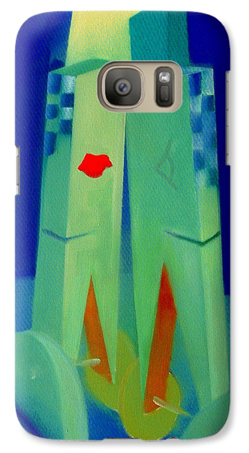 Blue Galaxy S7 Case featuring the painting The Kiss by Charles Stuart