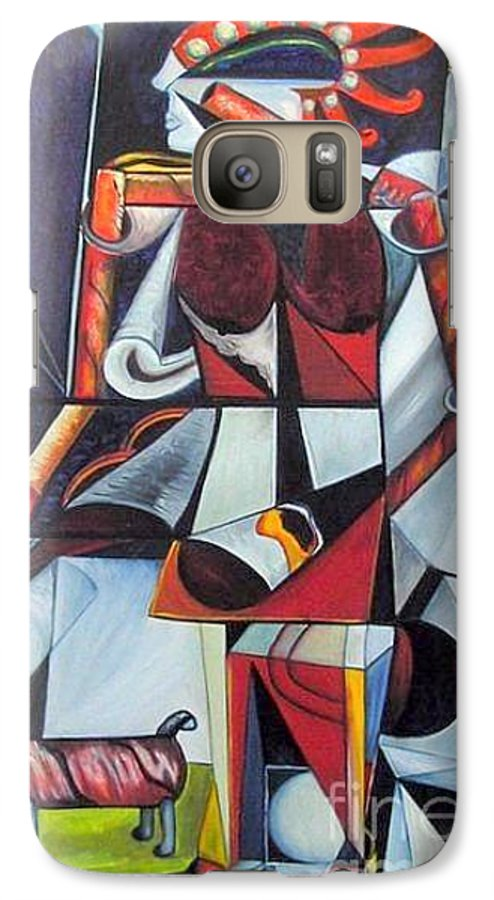Cubism Galaxy S7 Case featuring the painting The Lady And Her Dog by Pilar Martinez-Byrne