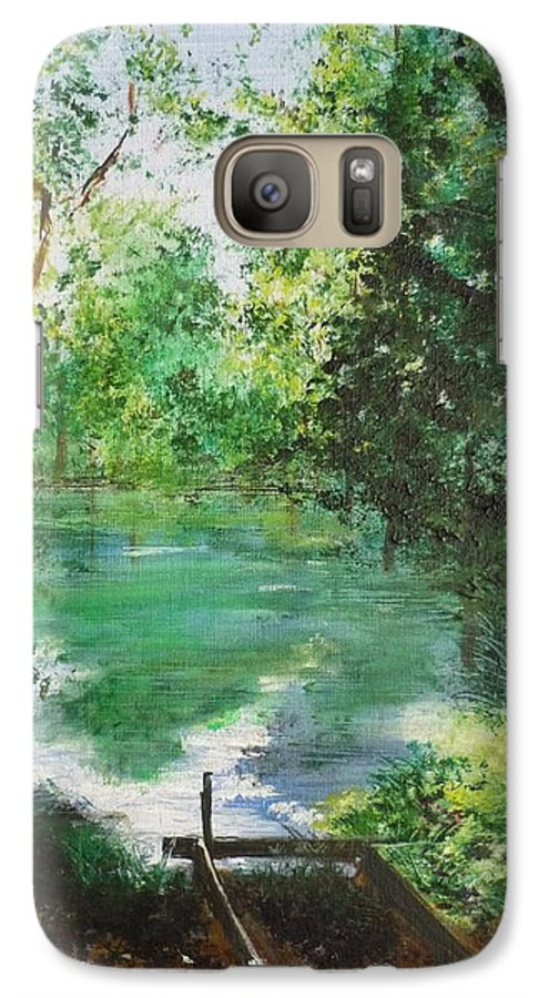 Lake Galaxy S7 Case featuring the painting The Lake At Stansted Unfinished by Lizzy Forrester