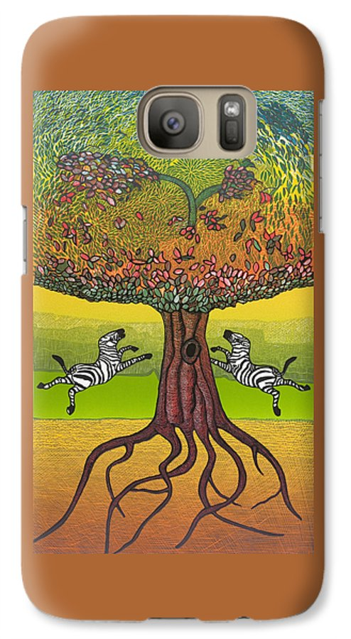 Landscape Galaxy S7 Case featuring the mixed media The Life-giving Tree. by Jarle Rosseland