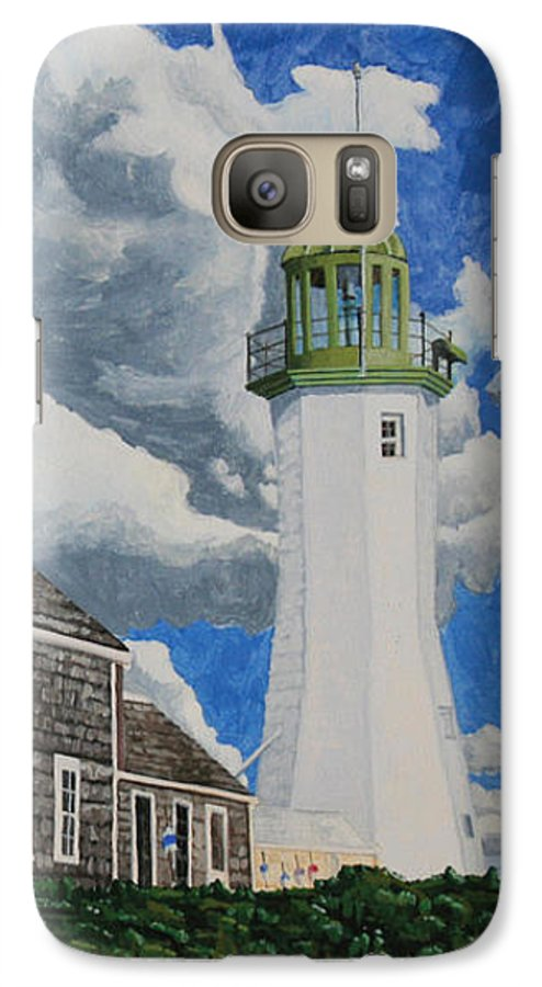 Lighthouse Galaxy S7 Case featuring the painting The Light Keeper's House by Dominic White