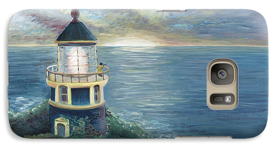 Lighthouse Galaxy S7 Case featuring the painting The Lighthouse by Nadine Rippelmeyer