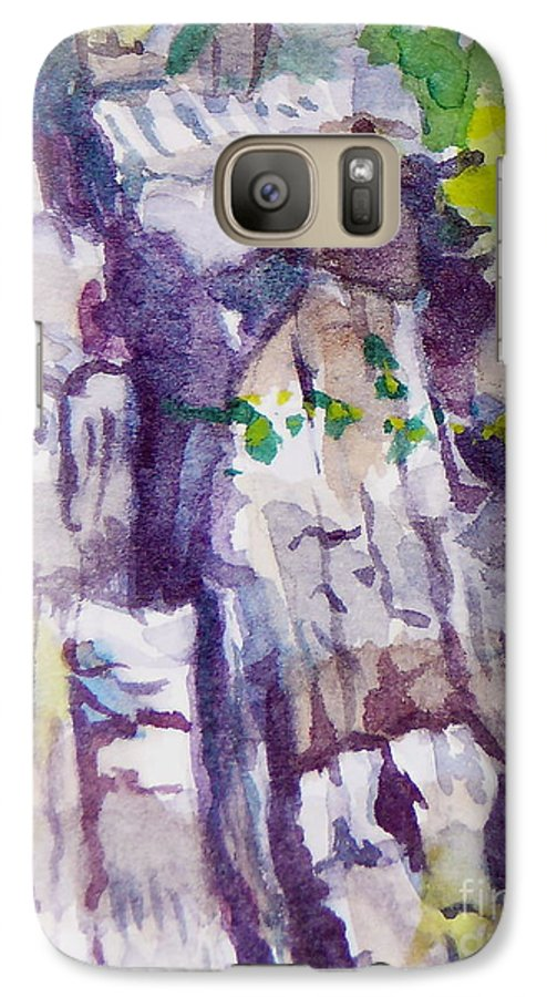 Purple Galaxy S7 Case featuring the painting The Little Climbing Wall by Jan Bennicoff